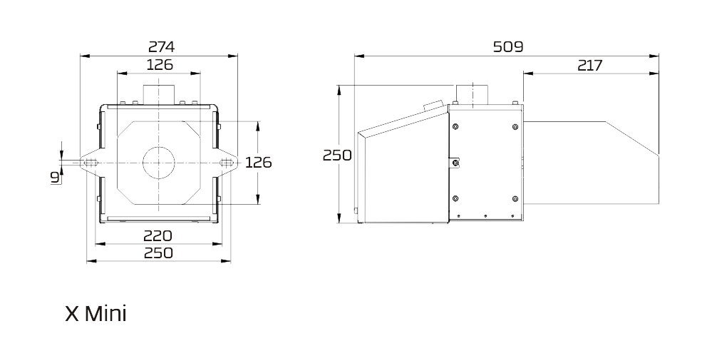 wymiary palnika pellasx x mini